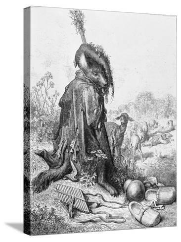 The Wolf Turned Shepherd, Illustration from 'Fables' by La Fontaine, 1868-Gustave Dor?-Stretched Canvas Print