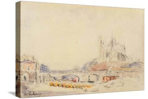 View of the Pont De La Tournelle and Notre-Dame De Paris-Albert-Charles Lebourg-Stretched Canvas Print