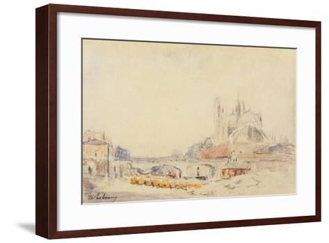 View of the Pont De La Tournelle and Notre-Dame De Paris-Albert-Charles Lebourg-Framed Art Print
