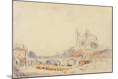 View of the Pont De La Tournelle and Notre-Dame De Paris-Albert-Charles Lebourg-Mounted Giclee Print