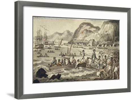 Captain Cook Landing in Owyhee, Illustration from 'The Voyages of Captain Cook'-Isaac Robert Cruikshank-Framed Art Print