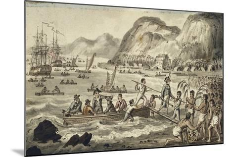 Captain Cook Landing in Owyhee, Illustration from 'The Voyages of Captain Cook'-Isaac Robert Cruikshank-Mounted Giclee Print