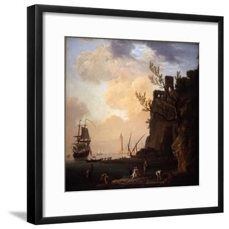 An Italianate Harbour Scene, 1749-Claude Joseph Vernet-Framed Art Print