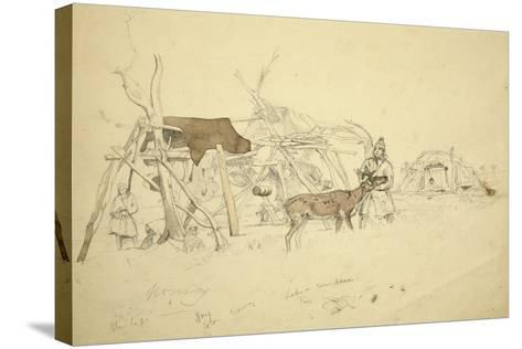 Lapps and Reindeer Beside Huts, North Norway, C.1850-Godfrey Thomas Vigne-Stretched Canvas Print