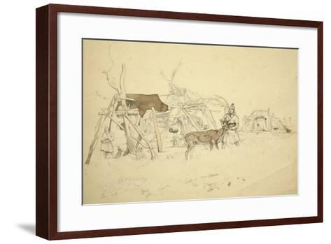 Lapps and Reindeer Beside Huts, North Norway, C.1850-Godfrey Thomas Vigne-Framed Art Print