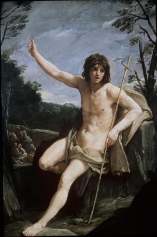 St. John the Baptist in the Wilderness, C.1636-37-Guido Reni-Stretched Canvas Print