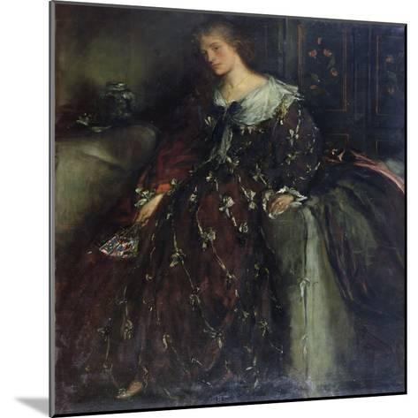 The Lady with the Green Fan, Portrait of Mrs Hacon-Charles Haslewood Shannon-Mounted Giclee Print