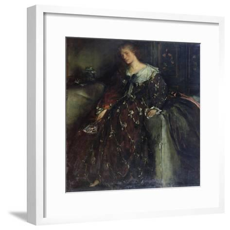 The Lady with the Green Fan, Portrait of Mrs Hacon-Charles Haslewood Shannon-Framed Art Print