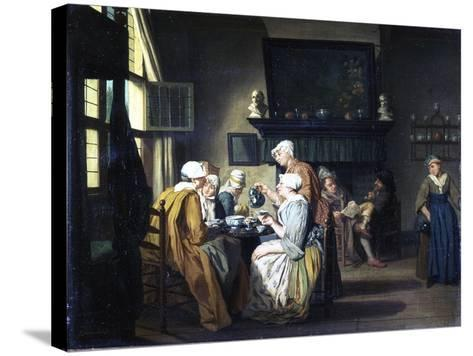 Bourgeois Interior with Ladies Drinking Tea, a Man Reading by the Fireplace-Jan Josef the Elder Horemans-Stretched Canvas Print