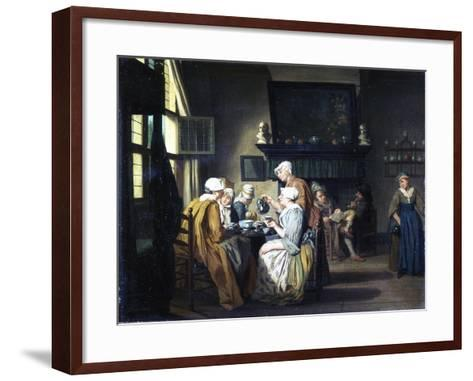 Bourgeois Interior with Ladies Drinking Tea, a Man Reading by the Fireplace-Jan Josef the Elder Horemans-Framed Art Print