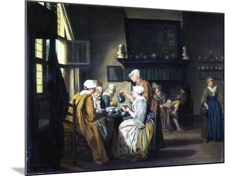 Bourgeois Interior with Ladies Drinking Tea, a Man Reading by the Fireplace-Jan Josef the Elder Horemans-Mounted Giclee Print