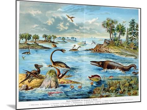 Prehistory - Jurassic - Reconstruction of Natural Environment in Europe and Some of the Animals…-German School-Mounted Giclee Print