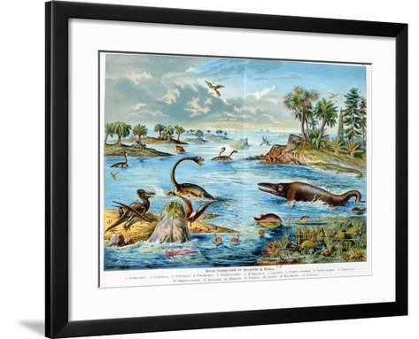 Prehistory - Jurassic - Reconstruction of Natural Environment in Europe and Some of the Animals…-German School-Framed Art Print