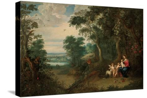A Wooded Landscape with the Virgin and Child, Infant St. John the Baptist and an Angel-Jan Brueghel the Younger-Stretched Canvas Print