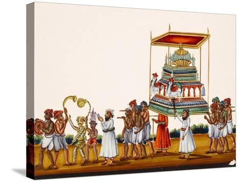 A Procession, Possibly for Muharram in South India, from Thanjavur, India--Stretched Canvas Print