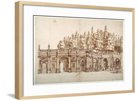 Villa Aldobrandini at Frascati--Framed Art Print