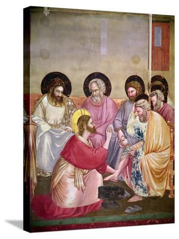 Christ Washing the Disciples' Feet, Detail of Christ and Six Disciples, C.1303-05-Giotto di Bondone-Stretched Canvas Print