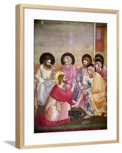 Christ Washing the Disciples' Feet, Detail of Christ and Six Disciples, C.1303-05-Giotto di Bondone-Framed Art Print