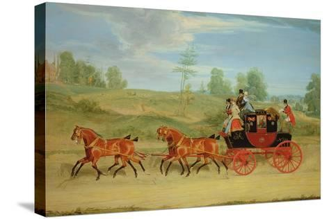 The Manchester and London Royal Mail Coach-James Pollard-Stretched Canvas Print
