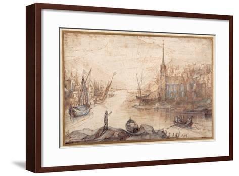 A Harbour Scene with Shipping and a Church at Sundown-Cornelis Claesz Van Wieringen-Framed Art Print