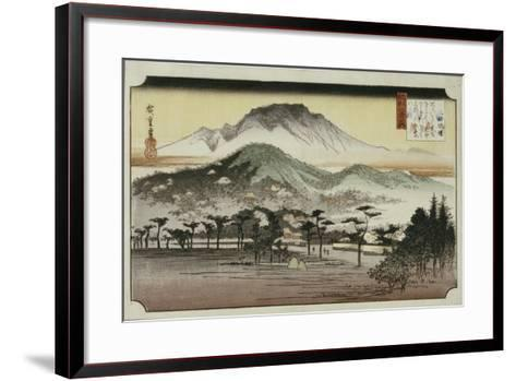 Evening Bell at Mii Temple, from the Series 'Eight Views of Lake Biewa'-Ando Hiroshige-Framed Art Print