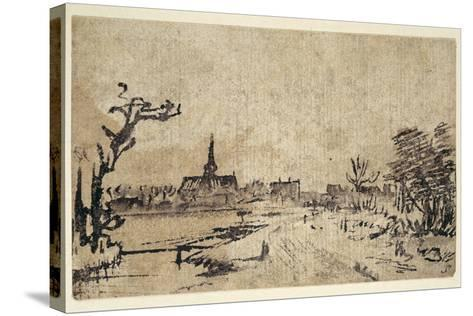 Landscape with Water, the Village of Amstelveen in the Background, C.1654-55-Rembrandt van Rijn-Stretched Canvas Print