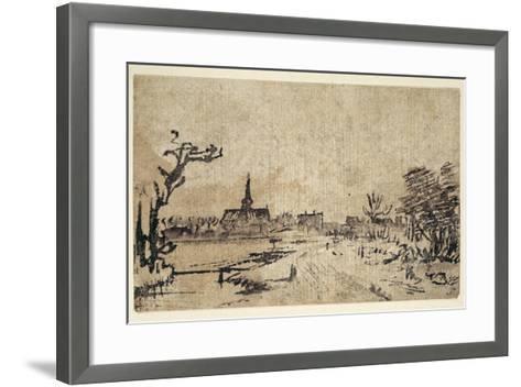 Landscape with Water, the Village of Amstelveen in the Background, C.1654-55-Rembrandt van Rijn-Framed Art Print