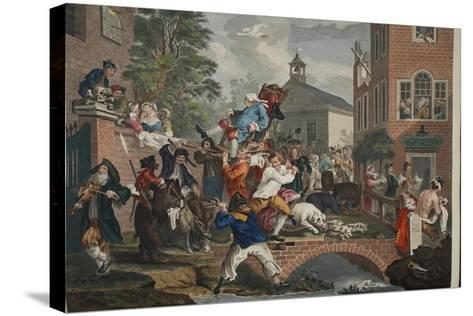 The Election, Chairing the Member, Illustration from 'Hogarth Restored: the Whole Works of the…-William Hogarth-Stretched Canvas Print
