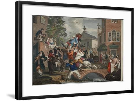 The Election, Chairing the Member, Illustration from 'Hogarth Restored: the Whole Works of the…-William Hogarth-Framed Art Print