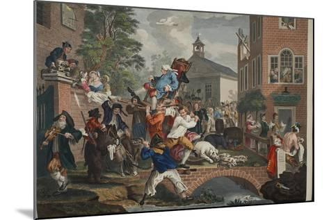 The Election, Chairing the Member, Illustration from 'Hogarth Restored: the Whole Works of the…-William Hogarth-Mounted Giclee Print