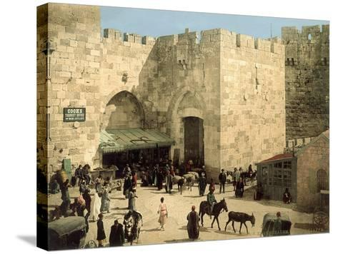 Jaffa Gate, from Outside the Walls with Donkeys and People in Front of the Gate, C.1880-1900--Stretched Canvas Print