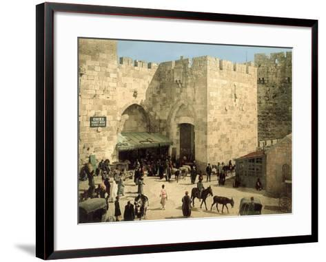 Jaffa Gate, from Outside the Walls with Donkeys and People in Front of the Gate, C.1880-1900--Framed Art Print