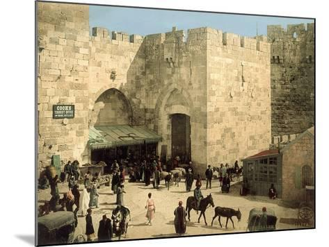 Jaffa Gate, from Outside the Walls with Donkeys and People in Front of the Gate, C.1880-1900--Mounted Photographic Print