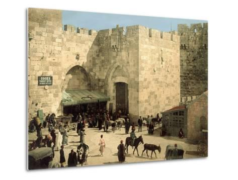 Jaffa Gate, from Outside the Walls with Donkeys and People in Front of the Gate, C.1880-1900--Metal Print