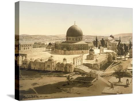 View of the Temple Mount with the Dome of the Rock and the El Aqsa Mosque, Jerusalem, C.1880-1900--Stretched Canvas Print