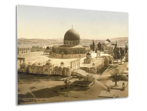 View of the Temple Mount with the Dome of the Rock and the El Aqsa Mosque, Jerusalem, C.1880-1900--Metal Print