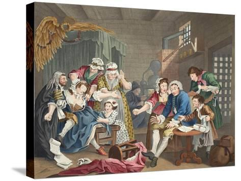 The Rake in Prison, Plate Vii, from 'A Rake's Progress', Illustration from 'Hogarth Restored: the…-William Hogarth-Stretched Canvas Print