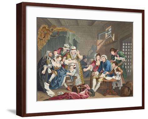 The Rake in Prison, Plate Vii, from 'A Rake's Progress', Illustration from 'Hogarth Restored: the…-William Hogarth-Framed Art Print