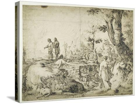 Landscape with Peasants by a Hut, 1593-Hendrik Goltzius-Stretched Canvas Print