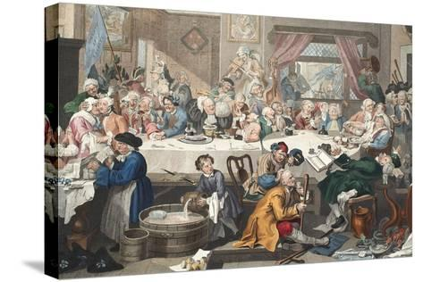An Election Entertainment, Illustration from 'Hogarth Restored: the Whole Works of the Celebrated…-William Hogarth-Stretched Canvas Print