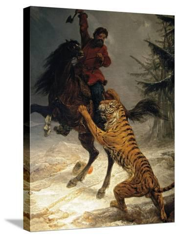 Siberian Tiger Attacking a Cossack--Stretched Canvas Print
