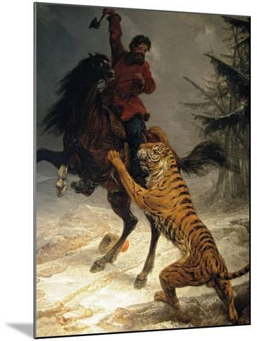 Siberian Tiger Attacking a Cossack--Mounted Giclee Print