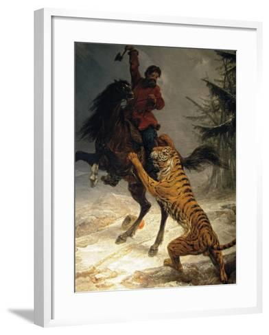 Siberian Tiger Attacking a Cossack--Framed Art Print