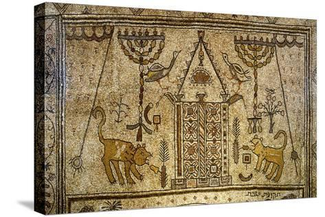 Detail of the Floor Depicting the Holy Ark Flanked by Candelabras, Lions and Birds--Stretched Canvas Print