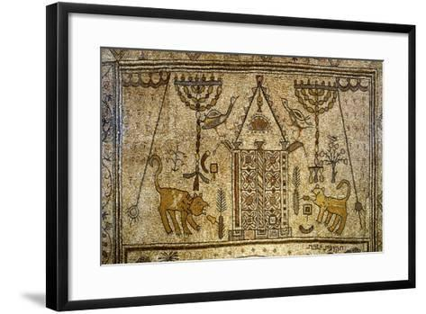 Detail of the Floor Depicting the Holy Ark Flanked by Candelabras, Lions and Birds--Framed Art Print