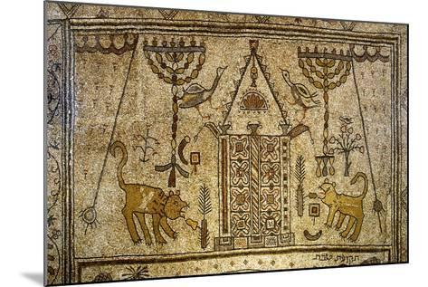 Detail of the Floor Depicting the Holy Ark Flanked by Candelabras, Lions and Birds--Mounted Giclee Print