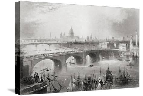 London, Southwark and Blackfriars Bridges over the River Thames, London, England, from…-William Henry Bartlett-Stretched Canvas Print