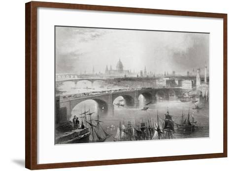 London, Southwark and Blackfriars Bridges over the River Thames, London, England, from…-William Henry Bartlett-Framed Art Print