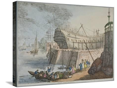 View of Brunswick Dock, 1806-Thomas Rowlandson-Stretched Canvas Print