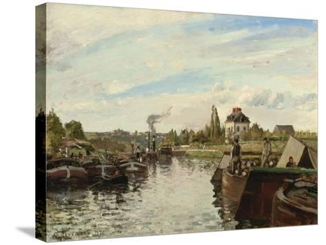 Barge on the Seine at Bougival, 1871-Camille Pissarro-Stretched Canvas Print
